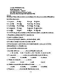 Đề thi môn Anh văn - Trường THCS Định Long