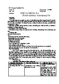 Giáo án Ngữ văn 9 - Tiết 165, 166: Tôi và chú